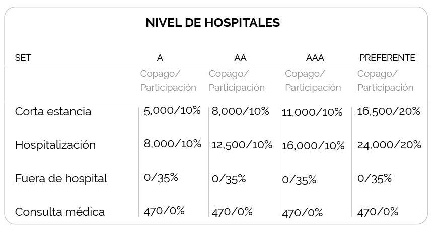 Alfa Medical Flex de Seguros Monterrey. Esta tabla muestra los copagos según los niveles de hospitales.